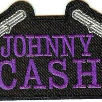 Johnny Cash Iron-On Patch Pistols Logo