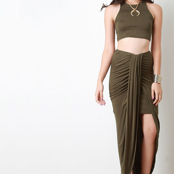 Draped Tulip Maxi Skirt