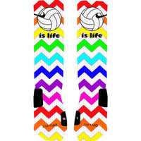 Volleyball Socks Volleyball is Life Rainbow Chevron Custom Socks Custom Nike Elite Socks