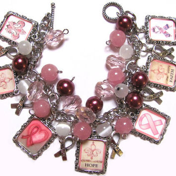 BREAST CANCER AWARENESS Altered Art Charm by PaleMoonCreations