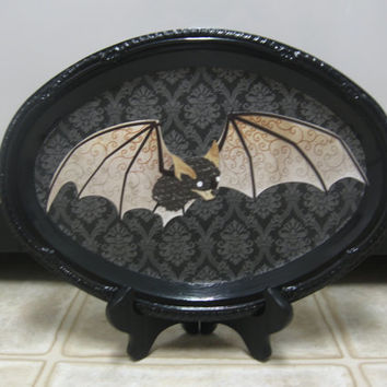 Halloween Decorations-Halloween Bat Tray/Wall Decor-Halloween Shelf Sitter-Halloween Decor-Goth Decor-Vampire Decor-Bat Decor-Spooky Decor