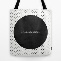 BLACK HELLO BEAUTIFUL - POLKA DOTS Tote Bag by Allyson Johnson