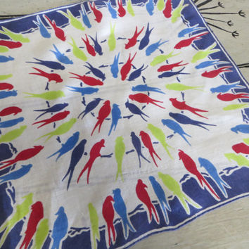 Vintage Handkerchief Colorful Hankie Hanky Cotton Handkerchief Birds Bird on a Wire Red and Blue Animal Hankie