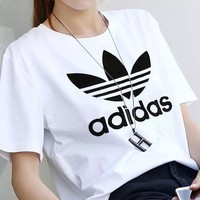 Adidas Woman Men Fashion Casual Letter Print Shirt Top Tee