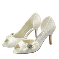 Gorgeous Ivory Lace High Heel Peep Toe Beautiful Wedding Shoes S13