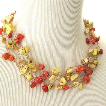 Copper Wire Yellow and Orange Howlite Crochet Necklace