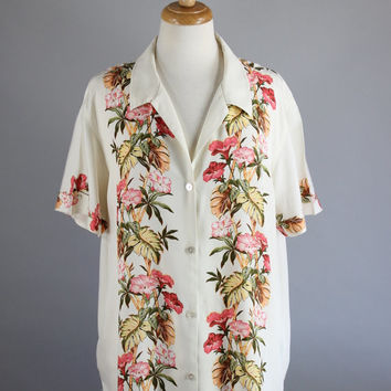 Vintage 90s Women's Cream Tropical Floral Tommy Bahama Rayon Short Sleeved Vacation Honeymoon Button Down Summer Shirt