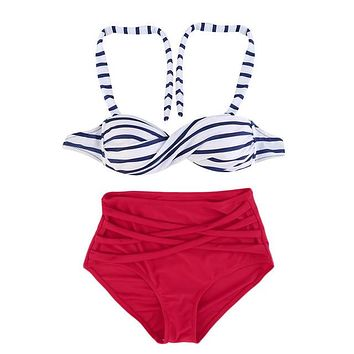 Rockabilly 50s Vintage Style 2pc Swimsuit/Striped Top/Red Bottom