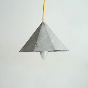 "Paper mache pendant lamp ""Diamond"", paper pulp hanging lamp, paper lamp shade, modern, eco-friendly, paper lamp,"