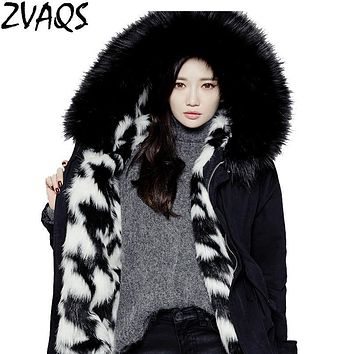 ZVAQS Winter Wool Liner Women's Outerwear Female Loose Parks Casual Large Fur Collar Thick Warm Coats Jaqueta Feminina Inverno