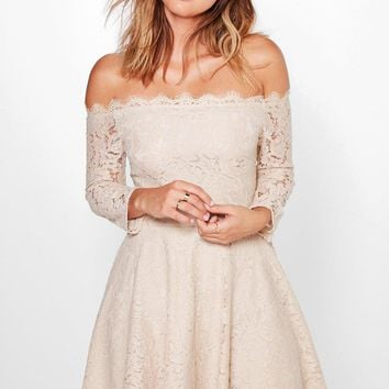 Mia Eyelash Lace Off Shoulder Skater Dress | Boohoo