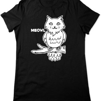 Funny Cat T Shirt, Meowl, Funny Tshirt, Funny Graphic Tee, Owl Tshirt, Cat Tshirt, Owl T Shirt, Animal Tshirt, Ladies Womens Plus Size