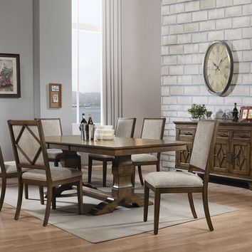 Acme 66100 7 pc Aurodoti oak finish wood double pedestal dining table set