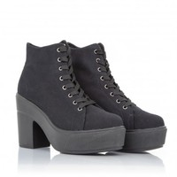 Missguided - Trevia Canvas Platforn Heeled Trainers In Black