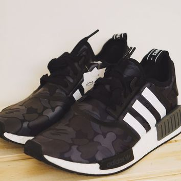 Adidas x Bape NMD R1 Black Grey Camo - US Size 5 (100% Authentic)