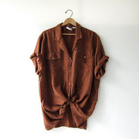 vintage copper silk shirt. oversized silk blouse. short sleeve silk pocket shirt. slouchy silk shirt. loose fit silk shirt.