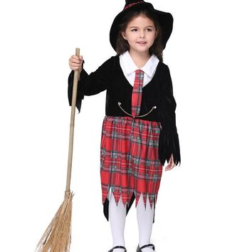 MOONIGHT 3 Pcs Girl Kids Children Christmas Halloween Costume Witch Dress and Hat Cap Enchanter Fancy Costume