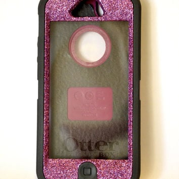 Glitter custom made Otterbox Defender case for iPhone 5 Pink and Black See Specials in description