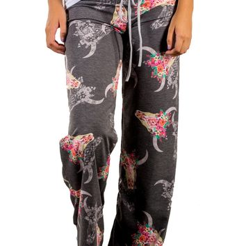Loose fitting Printing Yoga Pants with Contrast Waist Band