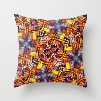 Colorful Ornament Pattern Throw Pillow by Danflcreativo