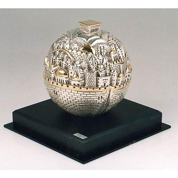 Jerusalem Globe Ball On Marble Stand Collectible