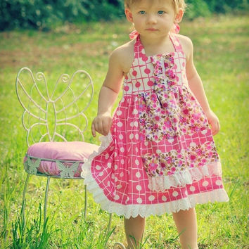 Girls Sewing Pattern Dress - pdf pattern - Apron Dress, 12 months to 10 years of age