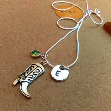 Personalized Hand Stamped Necklace - Charm Necklace - Western Cowgirl Boot Necklace - Customized Initial Necklace - Peridot Green Necklace