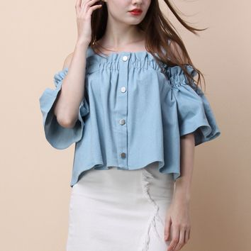 For the Love of Ruffles Chambray Top