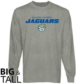 Southern University Jaguars On Point Big and Tall Long Sleeve T-Shirt - Ash