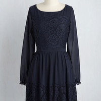 Might Come in Fancy Long Sleeve Dress in Navy | Mod Retro Vintage Dresses | ModCloth.com