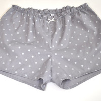 French Cotton Pajamas Shorts Gray With Silver Dots