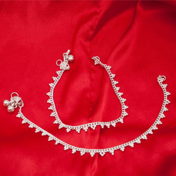 Pakistani Ethnic Indian Silver Tone Payal Anklet Pair Curved Edge with Soft Bells
