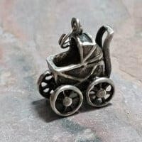 Antique Baby Carriage Charm Sterling Silver Vintage Baby Carriage Stroller Baby Gift New Mother Gift Bracelet Charm Pendant Necklace Charm