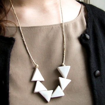 White Triangles Porcelain Hemp Necklace by clacontemporary on Etsy
