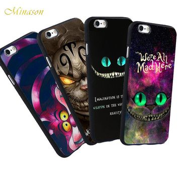 Minason We're All Mad Here Cheshire Cat Case For iPhone X 5 S 5S SE 6 6S 7 8 Plus Alice in Wonderland Capa TPU Soft Phone Cover