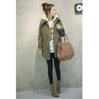 Korean Fashion Womens Hoodied Overcoat Long Jacket Winter Warmly Coat Clothes