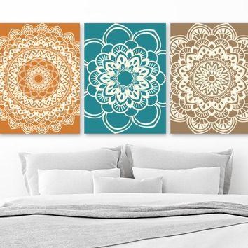 Mandala Wall Art, BATHROOM Wall Decor Canvas or Prints Mandala Decor, Medallion Wall Art, Orange Teal Brown Bedroom Wall Decor, Set of 3