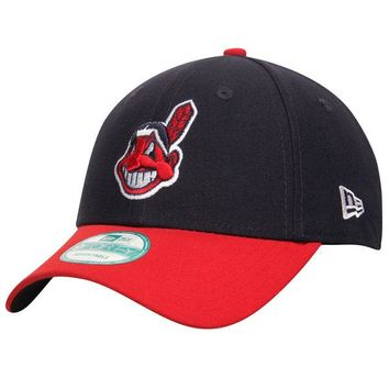 Men's Cleveland Indians New Era Navy/Red League 9FORTY Adjustable Hat