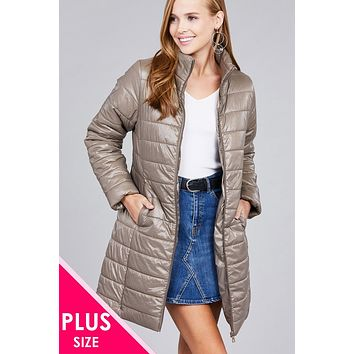 Women's Plus Size Long Sleeve Quilted Long Padding Jacket