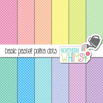 Pastel Polka Dot Digital Paper – scrapbook paper with a polka dot pattern in pink, peach, yellow, mint, blue, & purple - commercial use