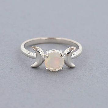 Triple Moon Goddess Ring-Sterling Silver with Opal