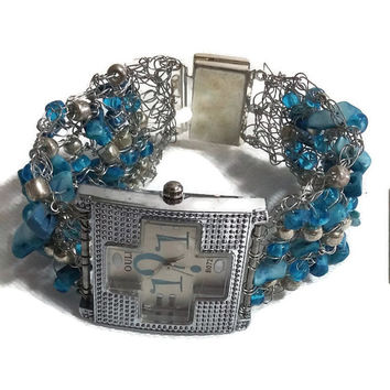knitted jewelry bracelet watch cuff inlaid with Blue Turquoise Mini Chip Gemstone Beads and siver beads sterling silver wire