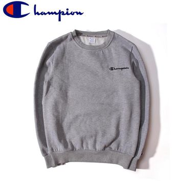 Champion autumn and winter cotton plus cashmere embroidery small street casual round neck sets of simple sweater Gray