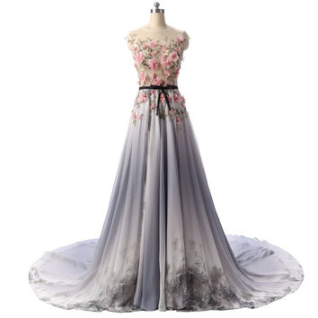 New Design All Handmade Flower Printed Gradient Color Chiffon Long Evening Dress