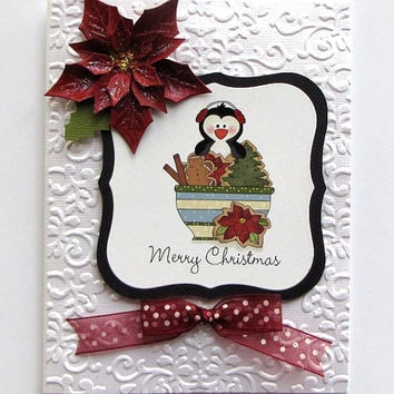 Christmas Penguin Card, Hand crafted card, Greeting Card, Christmas card, embossed card, Merry Christmas, poinsettia, burgundy and white