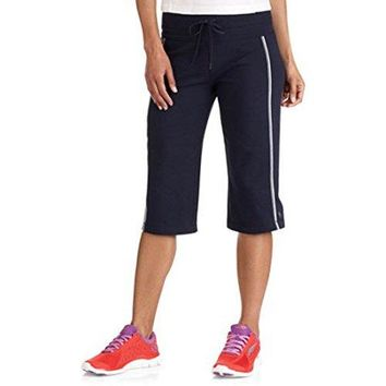 Danskin Now Womens DriMore Core Striped Bermuda Below Knee Shorts Activewear