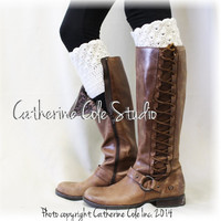 BOOTIE CUTIE in Dreamy Cream  Handmade crochet boot toppers mini leg warmers knit boot hand made cuffs womens Catherine Cole Studio CC0