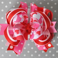 Full of Heart Valentine's Day bow, Heart bow, Red heart hair bow, Red and pink hair bow, Boutique hair bow for girl, Big Valentines Day bow