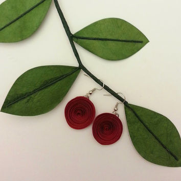 Paper Flower Dangle Earrings - Wine Red Rolled Paper Flower Earrings - Perfect for Bridesmaid Gifts, Birthdays, Everyday