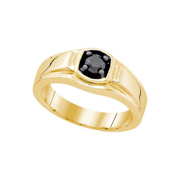 Sterling Silver Yellow-tone Mens Solitaire Black Diamond Wedding Ring 1/2 Cttw Sizes 75765